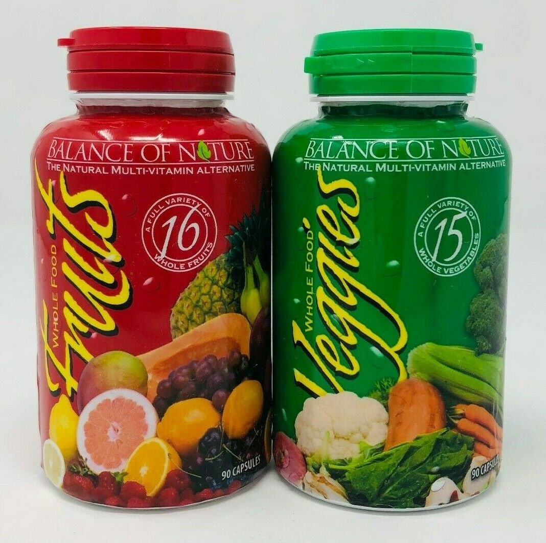 Balance of Nature Whole Food Fruits and Veggies 90 Capsules Each NEW EXP: 10/21