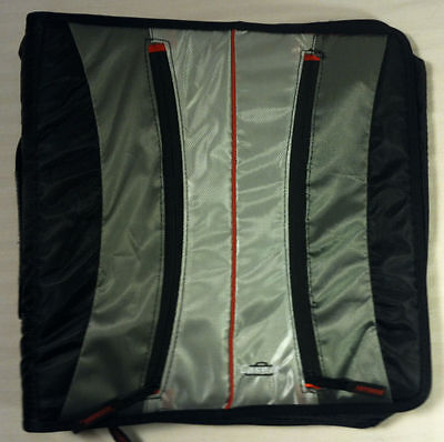 Case It D Ring Dual Binder - Black Silver With Red Trim