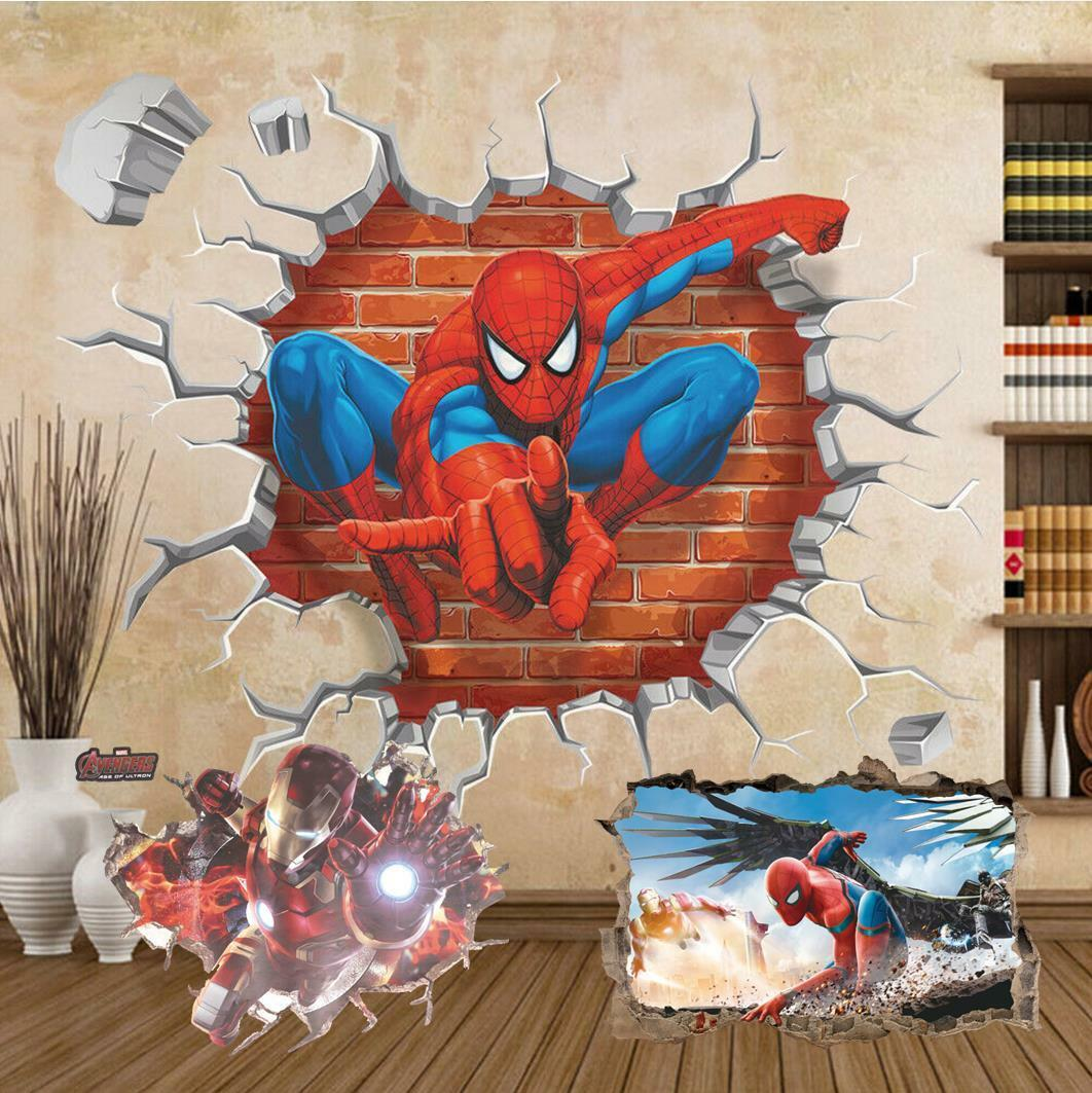 Home Decoration - Super Hero Spiderman Ironman Removable Wall Sticker home decor Birthday part