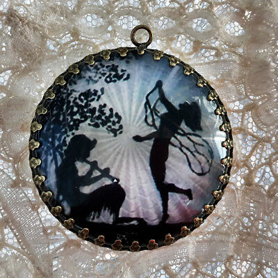 DANCING FAIRIES SILHOUETTE ~ XL ROUND PENDANT Filigree VINTAGE GUILLOCHE - Dancing Silhouette