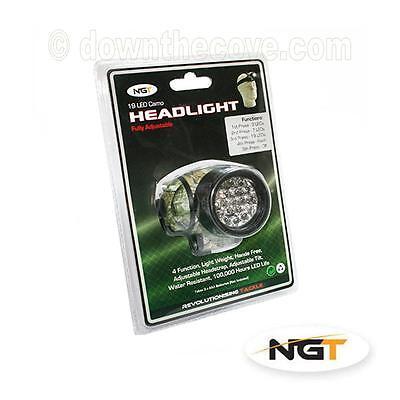 NGT 19 LED Camo Headlamp for Night Fishing, Biking Head Torch - Free 1st Class!