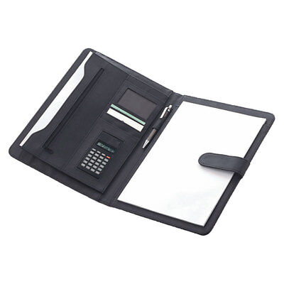 Black Pu Faux Leather A4 Conference Folder Organiser With Notepad And Calculator