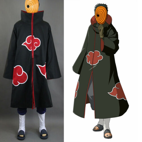 Naruto Akatsuki Tobi Uchiha Obito Robe Cloak Coat + Resin Mask Cosplay Costume