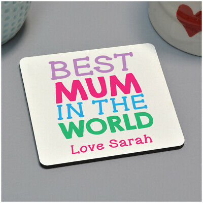 Best Mum in the World Drinks Coaster PERSONALISED Mothers Day Gifts for