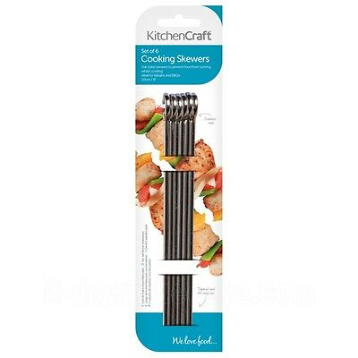 Kitchen Craft 6 x 20cm Flat Sided Skewers Stainless Steel BBQ Skewer - FAST POST