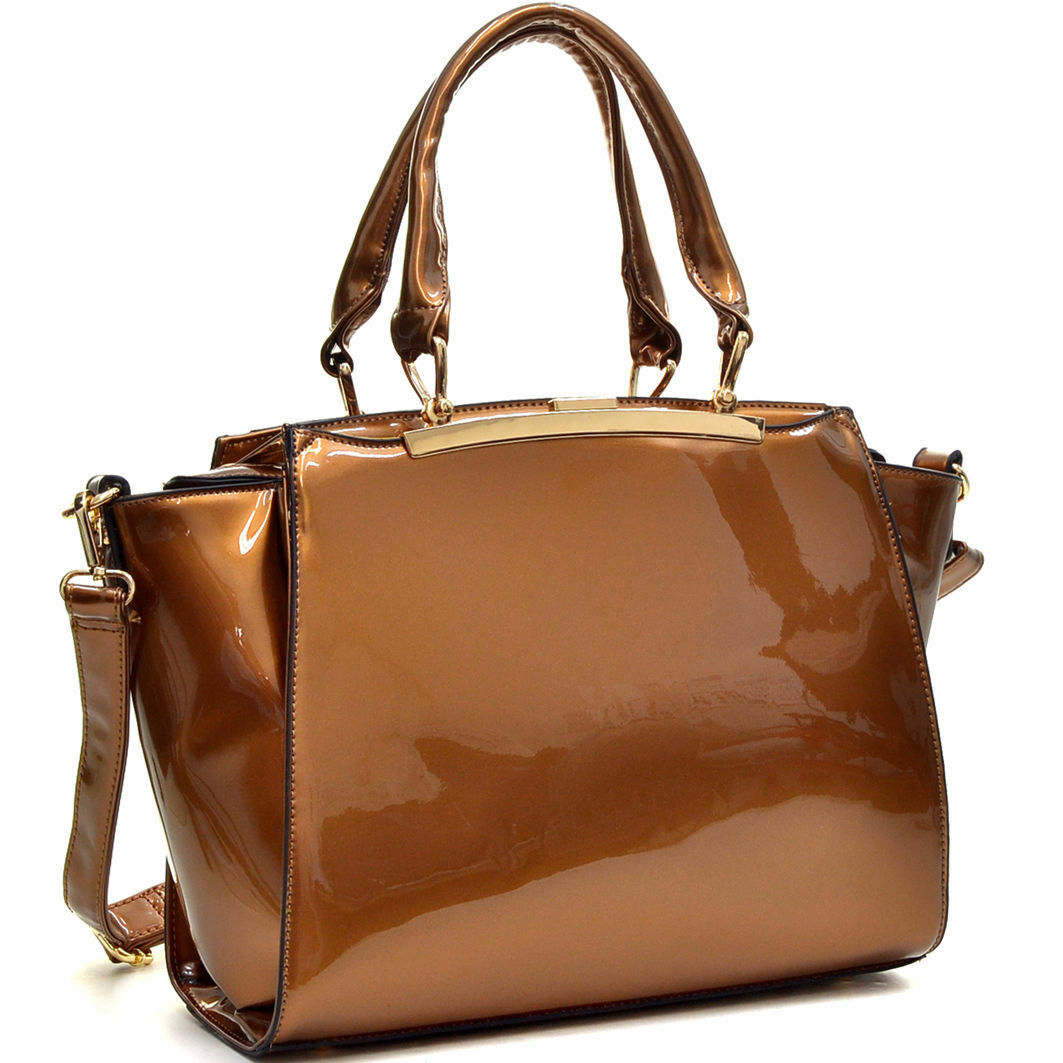 womens handbags faux patent leather satchel tote