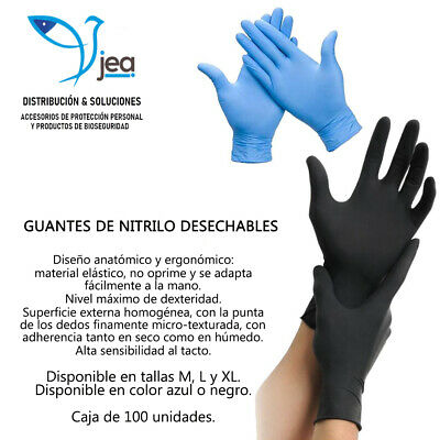 Guantes de Nitrilo desechables TALLA S (caja de 100 unidades) color azul