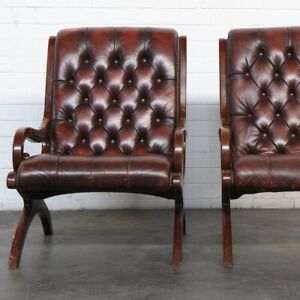 Chesterfield antique red leather armchair - 2 available ...