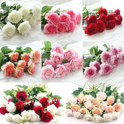 Simulation Real Touch cloth silk Rose Flowers Bouquet Wedding Party Home Deco
