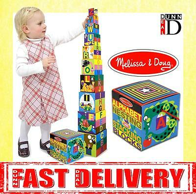 Melissa & Doug Alphabet Nesting and Stacking Blocks Building Tower Blocks Toy