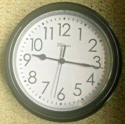 Wall Clock 9 in Round Plastic Classic Black Finish Second Hand Quartz SHIPS FREE