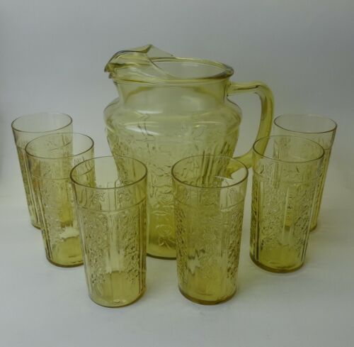 """Federal Sharon Amber Pitcher 80oz with 6 Tumblers 5 1/4"""""""