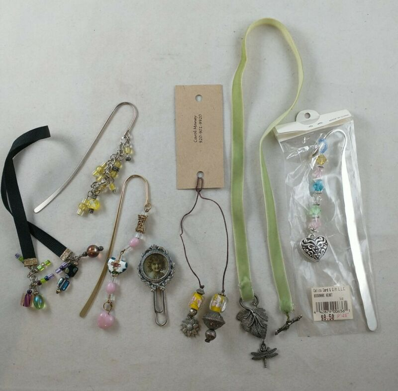 Lot of 7 Bookmarks GIRLY GLASS CLOISONNE DRAGONFLY HEART FLOWER *ee