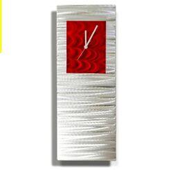 Red/Silver Wall Clock - Metal Art -24 x 9  Red Accent Decor Jon Allen