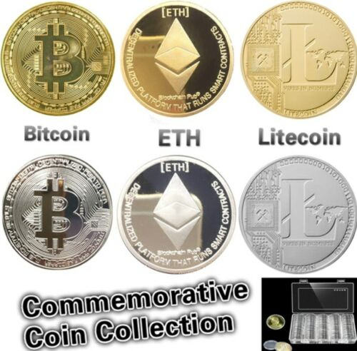 Hot! Gold & Silver Plated Bitcoin/  Litecoin/ Ethereum Coin Collectible Art Gift
