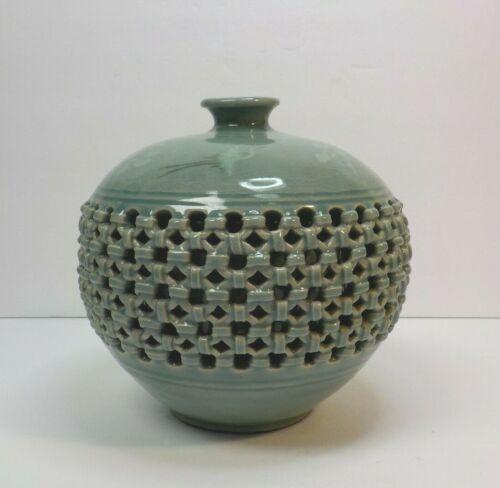 Korean Celadon Pottery Glazed Basket Weave Double-Wall Jar / Vase