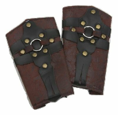 ROMAN GLADIATOR VIKING SPARTAN MEDIEVAL COSTUME ARM SHIELDS WRIST CUFFS GUARDS (Spartan Costume Accessories)