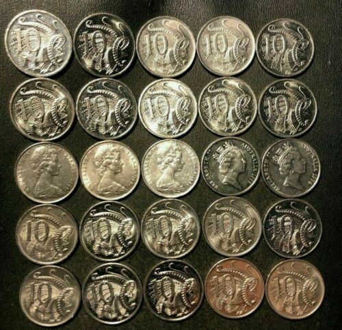 Old Australia Coin Lot - 25 HIGH GRADE 10 CENT COINS - FREE SHIPPING
