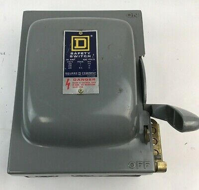 Square D Hu-261 Safety Switch 30a 600vac600vdc 15hp Max Ser.d1 Non Fusible 1ph