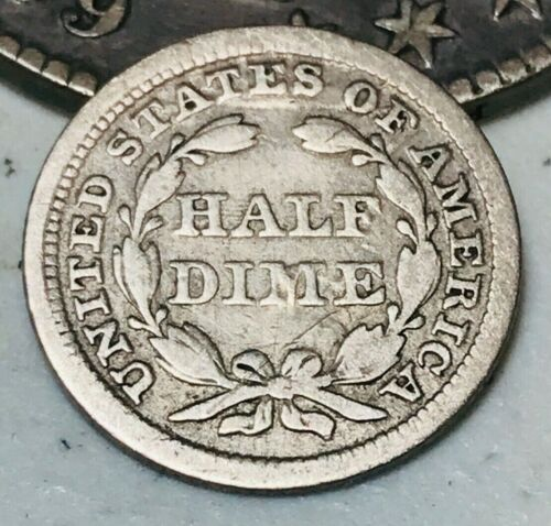 1855 Seated Liberty Half Dime 5C Arrows Reverse Die Crack US Silver Coin CC2406