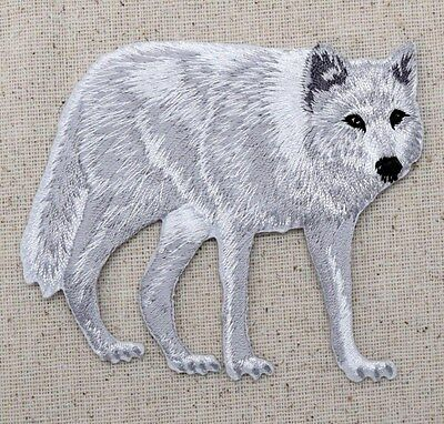 Iron On Embroidered Applique Patch Large White Arctic Wolf