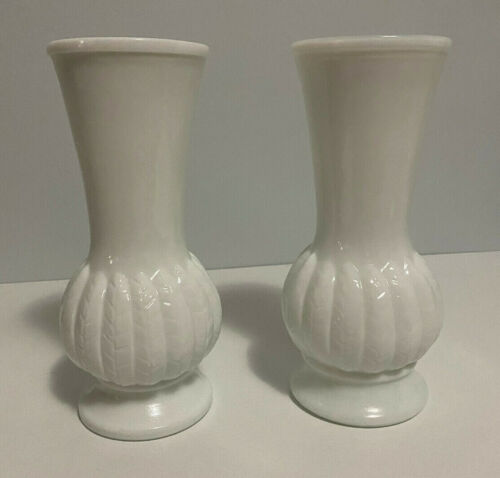 """Randal White Milk Glass Vases Wheat Feather Pattern 9"""" - Set of Two"""