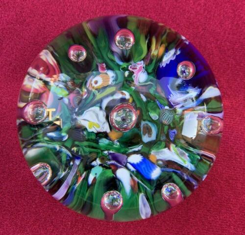 "Vintage Selkirk Glass Scotland ""Seaburst"" Paperweight w Control Bubbles 1988"