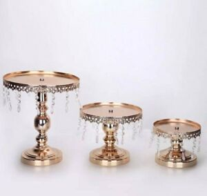 Brand New  3pcs Metallic Rose Gold cake stands with crystals