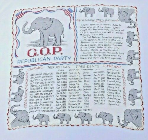 VTG G.O.P REPUBLICAN PARTY ELEPHANT HANDKERCHIEF PRESIDENT LIST UP TO 1933 EXC