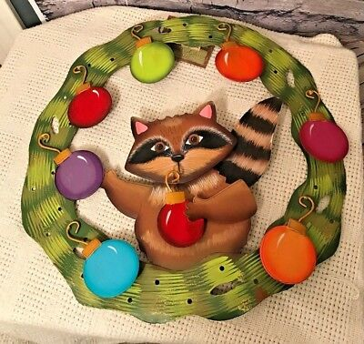 "Round Top Collection Halloween (ROUND TOP COLLECTION Christmas Raccoon 16"" Round Metal Door Wreath)"