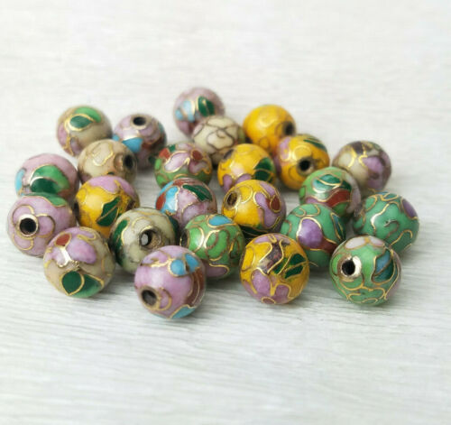 Chinese Cloisonne Enamel Choice of Colors Beads Round 8mm 6Pcs