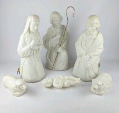 """Vintage Blow Mold 17.5"""" Nativity Set 7 Piece Light Up Plastic Indoor Outdoor"""