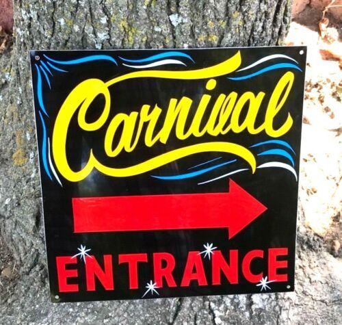 Vintage Painted Metal CARNIVAL ENTRANCE Sign Circus Amusement Park Midway FAIR