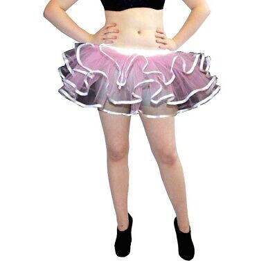 Plus Size Neon uv baby pink lilly trim tutu skirt dancewear clubwear RRP £14 ()