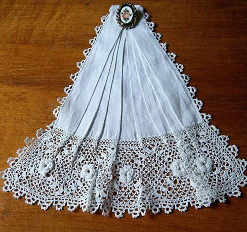 Antique Victorian time Jabot deco Irish crochet & cotton dainty lace hand made