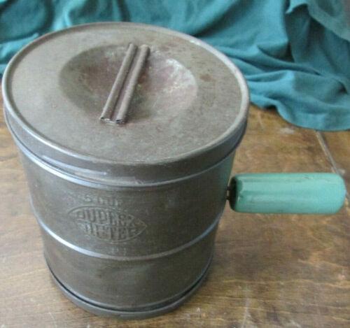 Vintage 5 Cup Metal Duplex Sifter w/ Lids Green Handle
