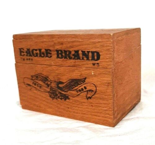 Eagle Brand Vintage Wooden Hinged Recipe Box Collectors Advertising