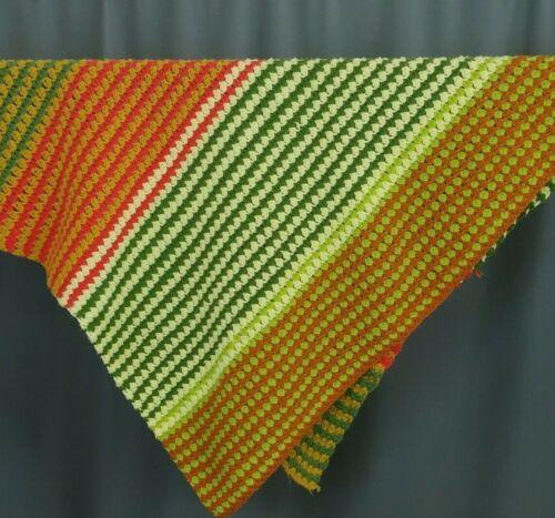 Striped Crochet  Afghan Gold Orange Olive Green Cream 48 x 46 Earthtone Cottage