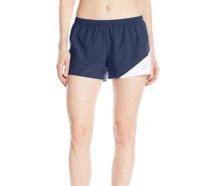 1/2 Split Shorts (ASICS Womens Gunlap 1/2 Split Exercise Running Shorts Navy/White Size Large)