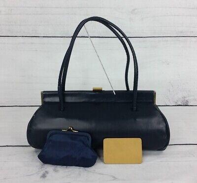 1950s Handbags, Purses, and Evening Bag Styles Vintage Framed Handbag Matching Mirror Pouch 1950s-60s Navy Blue Clutch Set Lot $45.00 AT vintagedancer.com