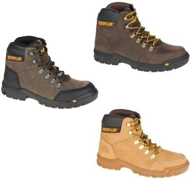 Caterpillar Men's Outline Brown Honey Gray Work Boot Steel/ Soft (Toe Honey)