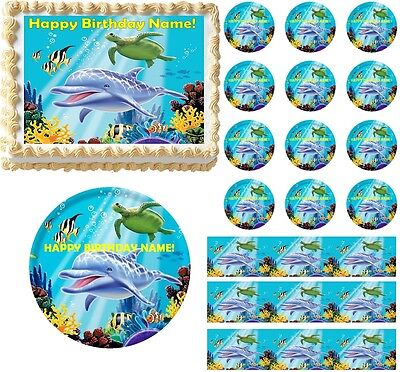 Dolphin Under the Sea Edible Cake Topper Image Cupcakes Ocean Baby Shower - Under The Sea Cake