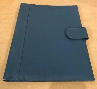 Levenger Blue Leather Writing Business Padfolio Portfolio Full Size Paper
