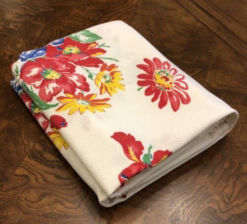 Vintage Printed Tablecloth Thomaston Pedigree Twelve Blocks of Flower Bouquets
