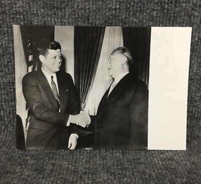 President John F. Kennedy German Chancellor Dr. Konrad Adenauer Press Photo A4