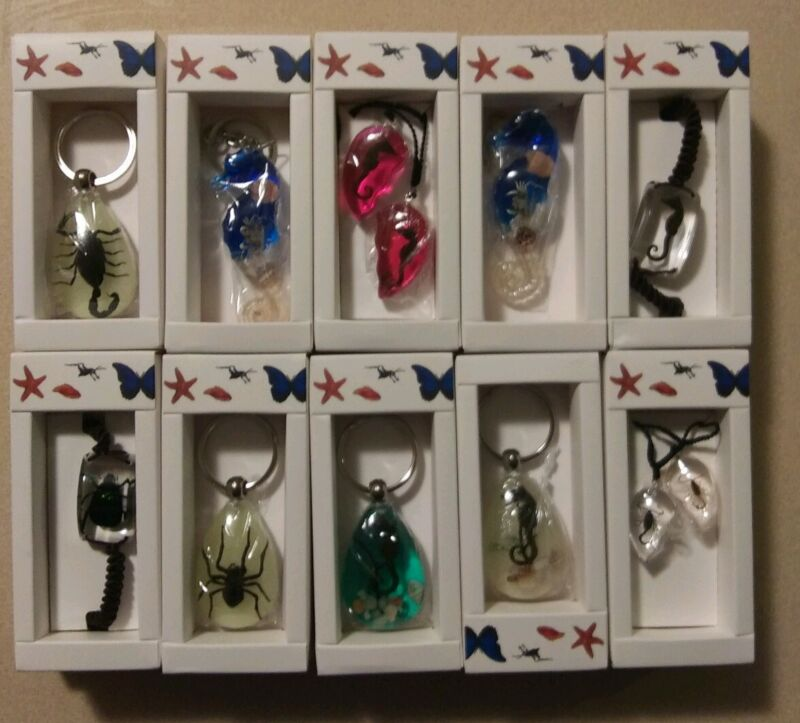 Lot of 10 mixed insect, scorpion, spider keychains, necklaces-New with Gift Box