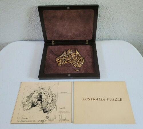 Ilaria Logi Australia Map Bronze Puzzle 23 Piece Stamped Vintage, Box Eucalyptus