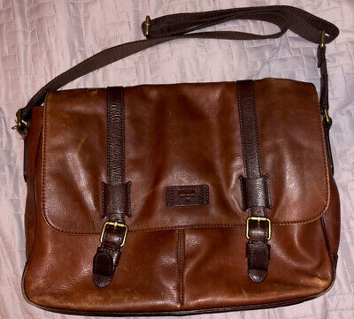 """FOSSIL Men's Brown Leather Messenger Laptop Work Bag: 18""""x12"""" - Great Condition!"""