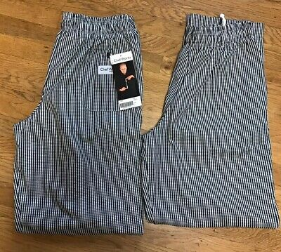 Lot Of 2 Chef Works Black.white Checkerboard Baggy Pants Sz L Nwt Nbcp