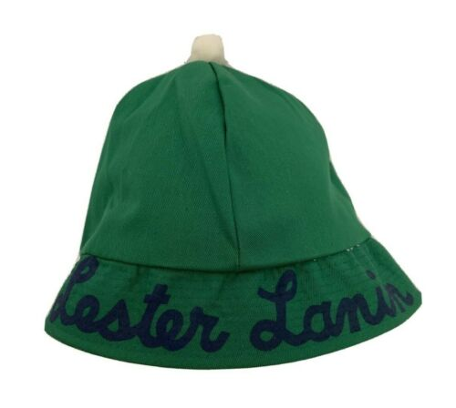 Vintage Lester Lanin and Orchestra Bucket Hat Green with Navy Lettering Pompom M